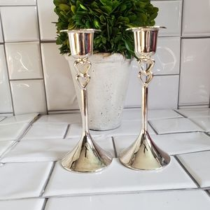 Lot of 2 Silver Tapered Candle Stick Holders Silve